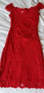 OLVI RED STRETCH LACE DRESS